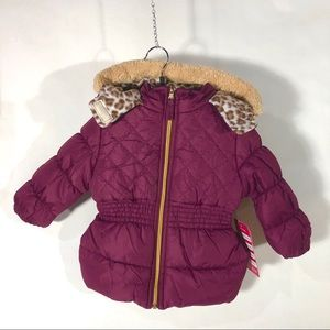 Pink Platinum Girls Hooded Puffer Coat 24M Purple